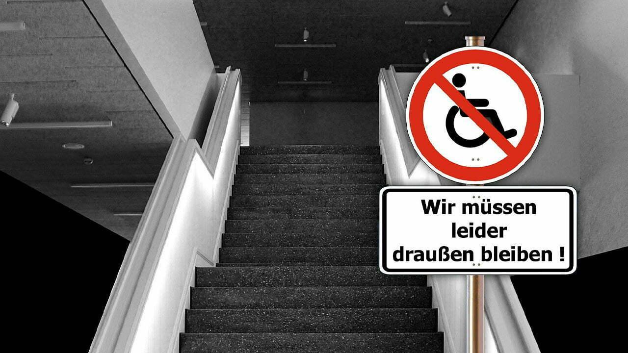 Treppe mit Verbotsschild